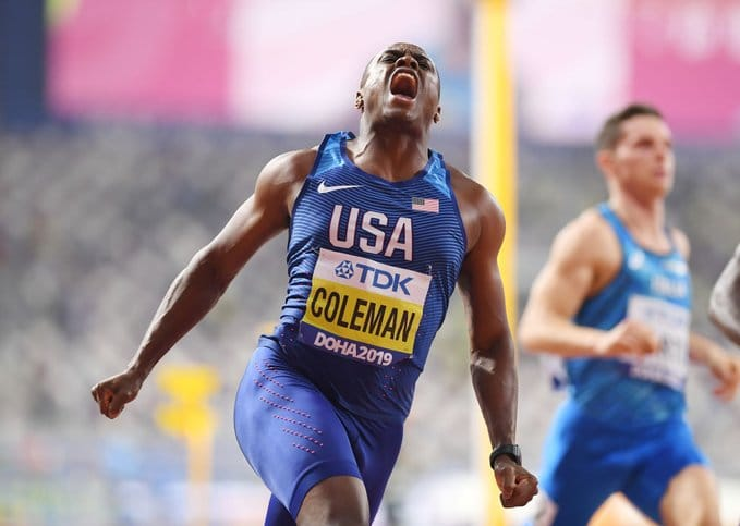 Christian Coleman claims world 100m title