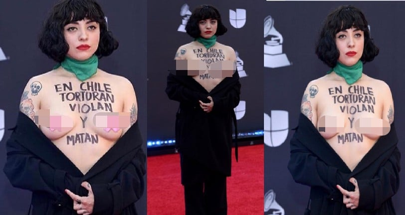 Shocking - Chile singer exposes breasts in protest at Latin Grammys