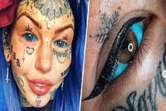 Shocking! Lady Goes Blind For 3 Weeks After Tattooing Her Eyeballs Blue
