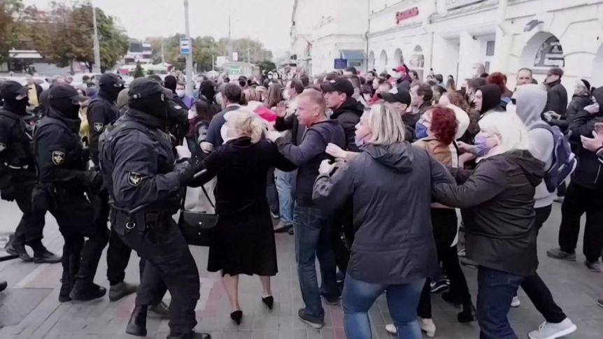 Belarus police arrest about 150 demonstrators as anti-government protests continue